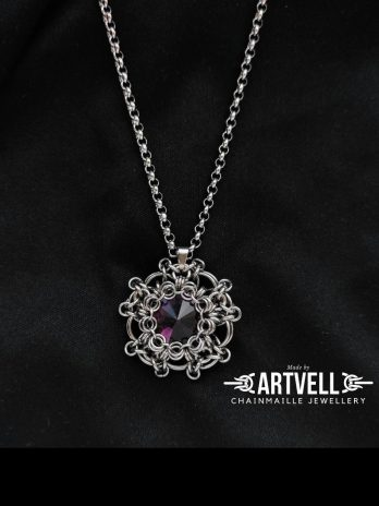 Wisior Medalion ciemny fiolet